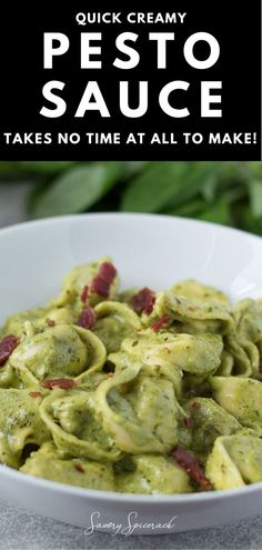 How To Cook Pasta, How To Cook Chicken, Sauce Recipes, Cooking Recipes, Drink Recipes, Creamy Pesto Sauce, Homemade Pesto, Easy Dinner Recipes, Delicious Recipes