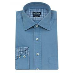 Chemise coupe classique en Gabardine lavée ciel #chemise