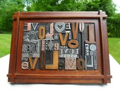 Old Letterpress Graphic Design Word LOVE In Type & Ornaments Wood Copper Metal