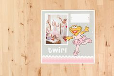 Sesame Street Zoe ballerina scrapbook page layout. Make It Now with the Cricut Explore machine in Cricut Design Space.