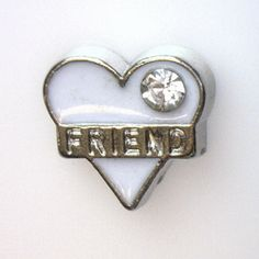 FRIEND White Heart Floating Locket Charm at www.showyourcharm.com Your friend would appreciate receiving one of these floating locket charms. Create a memory locket full of charms that tell her story from our full collection.