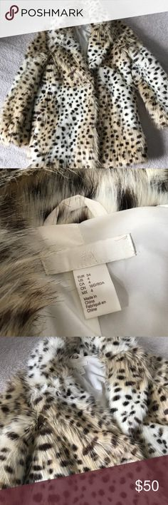 Leopard Faux Fur Coat❣️ Size: 34 but can fit 38 too☺️ Used once, new product❣️ H&M Jackets & Coats Pea Coats