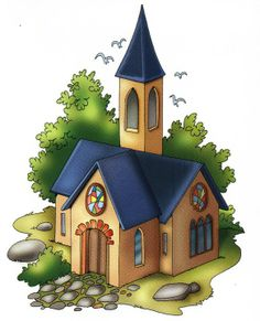 Laminas de Lugares Mariela Falabella Google+ Cartoon House, Our Town, Church Building, Happy Sunday, Home Art, Backdrops, Clock, Clip Art, Christmas Ornaments