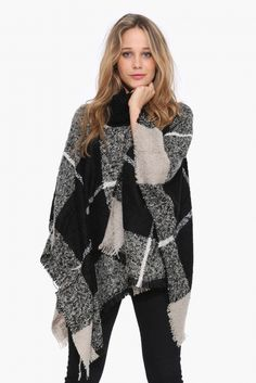 Plaid Poncho Sweater in Black/white | Necessary Clothing