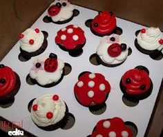 mini lady bug cupcakes