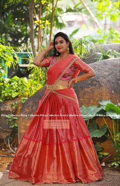 Lehenga Saree Design, Half Saree Lehenga, Kids Lehenga, Lehnga Dress, Lehenga Designs, Sarees, Wedding Saree Blouse Designs, Half Saree Designs, Pattu Saree Blouse Designs