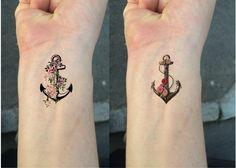 Ship From Ny - Temporary Tattoo - Set Of 2 Flower Anchor / Wrist Tattoo