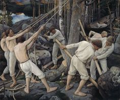 Pekka Halonen: Tienraivaajia Karjalassa (1900)