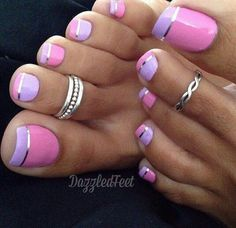 Im so getting this look one day. #purple #ombre #toes #silver  #loveit