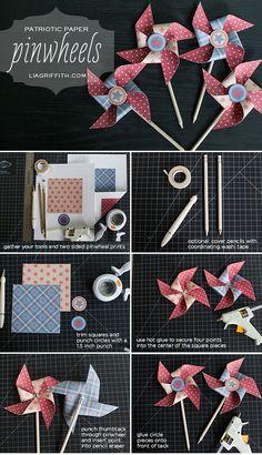 Printable Patriotic Paper Pinwheels #childhoodtoy