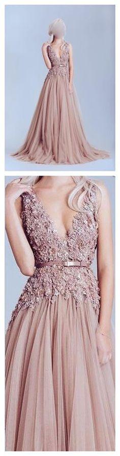 Dusty Pink Tulle Off shoulder Lace Best Sale Elegant Party Prom Dress. – AlineBridal