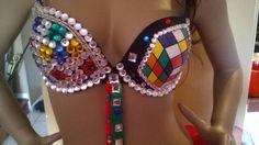 Rubic Cube Rhinestone rave bra handpainted with by Smokinghotdivas, $89.00