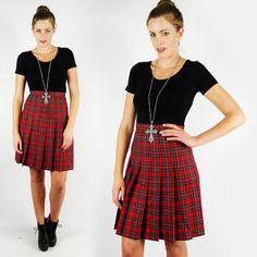 vtg 80s grunge RED TARTAN PLAID WOOL high waist PLEAT SCHOOL GIRL mini skirt S $38.00
