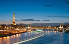 L'heure bleue, Paris - Eiffel Tower and Pont Alexandre III at twilight