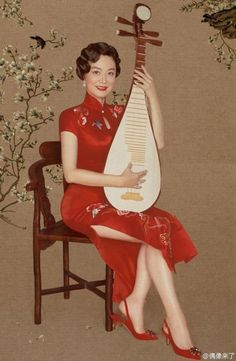 """The reality show """"Idol is Coming"""" presents nostalgic photos of female celebrities wearing Cheongsam, a traditional Chinese dress.  http://www.chinaentertainmentnews.com/2015/10/charming-stars-in-cheongsams.html"""