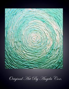 $120 Original Abstract Handpainted Canvas Modern Metallic Green Acrylic Impasto Palette Knife Painting. size 20 X 20. Free shipping in USA.. $120.00, via Etsy.