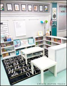 – Create Inspire Teach Source by ashlynnharper Kindergarten Classroom Decor, First Grade Classroom, New Classroom, Classroom Design, Classroom Organization, Classroom Management, Classroom Ideas, Elementary Classroom Themes, Classroom Reading Nook