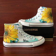 Converse Canvas Sneaker Hand Painted Sunflower Flower Skateboard Shoes