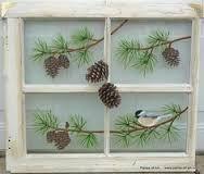 Panes of Art, Barn Quilts, Hand Painted Windows, Window Art, Decorative Window… Old Window Art, Old Window Crafts, Window Pane Art, Old Window Projects, Window Ideas, Window Frames, Room Window, Vintage Windows, Old Windows