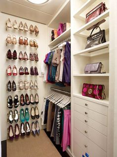 Walk in closet idea..built ins for bags & racks for shoes