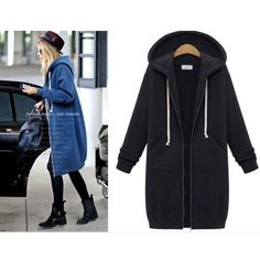 Material:Cotton SweaterColor:Black/Grey/BlueFashion Element:Hooded /Long L Long Sweater Coat, Cardigan Sweaters For Women, Long Sleeve Sweater, Winter Sweaters, Womens Windbreaker, Sports Hoodies, Winter Coats Women, Sweater Fashion, Hooded Sweatshirts