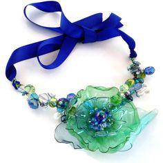 Beach Wedding, Bridal Necklace with Freshwater Pearls, Crystal & Glass, Sea Beach Jewelry, Adjustable with Ribbon Tie