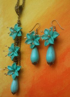 Turquoise jewelry set  Lily necklace and earrings  by insou, $47.00