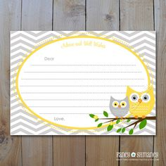 Owl Baby Shower Advice Card / INSTANT DOWNLOAD / Yellow and Grey Owls with Grey Chevron /DIY Printable File 42842