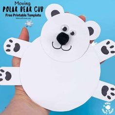 This Moving Polar Bear Cub Craft is just darling! Cradle it in your hands and move its head from side to side to bring it to life. Such a fun Winter craft for kids. (Free Printable Template) intercrafts via Winter Crafts For Kids, Winter Kids, Diy For Kids, Craft Kids, Kids Crafts, Winter Art, Foam Crafts, Classroom Crafts, Preschool Crafts
