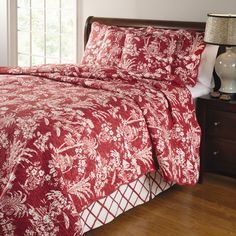 Greenland Home Fashions Mandarin 4 Piece Quilt Set in Red