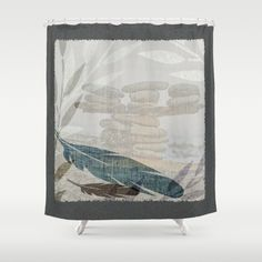Zen Stacked Rocks on Beach Graphic Feathers and Branches Shower Curtain