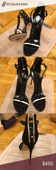 c7c6af4f3 Sergio Rossi size 39 Black Satin tuxedo sandals Never been worn Sergio  Rossi Shoes Sandals Sergio