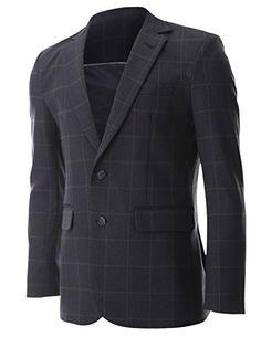FLATSEVEN Mens Slim Fit 2 Button Notched Lapel Premium Plaid Blazer Jacket (BJ466) Navy, M http://www.flatsevenshop.com/blazers/ # FLATSEVEN #mensfashion #clothing #fashion #men #jacket