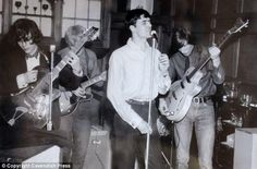 A rare picture of the first ever gig performed under the name Pink Floyd at a party in Surrey in 1966 with Syd Barrett, left, Bob Klose, Chris Dennis, centre, and Roger Waters, right