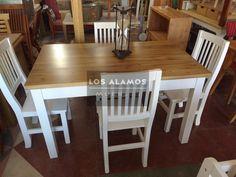 mesa de alamo mas 4 sillas patinadas