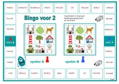 De spellingswoorden en categorieën nog eens oefenen met deze bingo voor 2. Woorden sluiten aan bij thema 8 van Taal Actief groep 4. Bingo, Circuit, Homeschool, Stage, Printables, Classroom, Letters, Class Room, Print Templates