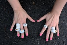 Ring - porcelain jewelry, gold