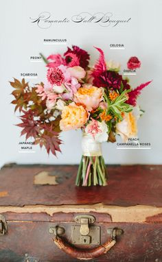 The fall floral bouquet - deconstructed Vintage Bridal Bouquet, Bridal Bouquet Fall, Fall Bouquets, Floral Bouquets, Wedding Bouquets, Bouquet Flowers, Fall Flowers, Wedding Centerpieces, Cake Bouquet