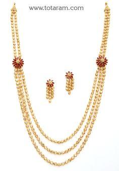 22K Gold Long Necklace & Ear Hangings Set with Uncut Diamonds