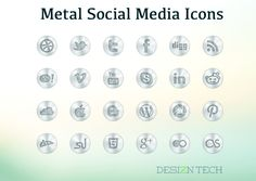 Free Metal Social Media Icon Set with PSD