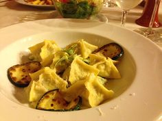 Warm buckwheat (Kasa) stuffed Ravioli with grilled Zucchini, all organic grade and all house made at the Gostilna Repovz in Sentjanz, Slovenia