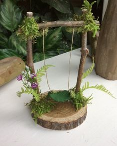 "Fairy Swing by Olive * 6 ""tall by wide Faerie Swing, Fae Swing, Fairy, Fairy Accessories - Alles für den Garten Mini Fairy Garden, Fairy Garden Houses, Fairy Gardening, Fairies Garden, Gardening Tips, Gardening Magazines, Gardening Quotes, Fairy Crafts, Garden Crafts"