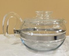Vtg Pyrex Glass Flameware Blue Tint Tea Coffee Pot 6 Cup 8446B with Lid 7756 N25 | eBay