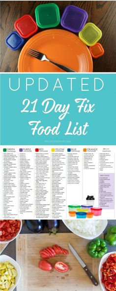 This expanded and updated 21 Day Fix food list is meant to help guide you through the 21 Day Fix program. There are updates being made all the time, so Ill pass them on to you when they happen!