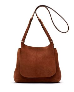 Sideby Suede Shoulder Bag, Saddle
