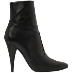 SAINT LAURENT 105mm Fetish Leather Ankle Boots (2.781.345 COP) ❤ liked on Polyvore featuring shoes, boots, ankle booties, shoe's, black, black leather booties, black leather ankle booties, black boots, high heel booties and black bootie