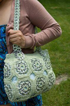Miellat upcycled Crochet vert onglet Pop sac à main par Flor7