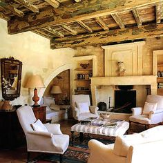 Rustic living room - I especially love that arched nook in the corner!  #home #decor