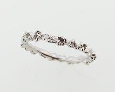 Rose Bud & Leaf Band, white gold, by Wexford Jewelers