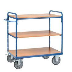 Etagewagen met houten legborden - 3 legborden - Draagvermogen 600 kg